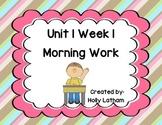 McGraw Hill Wonders Unit 1 Week 1 Morning Work First Grade