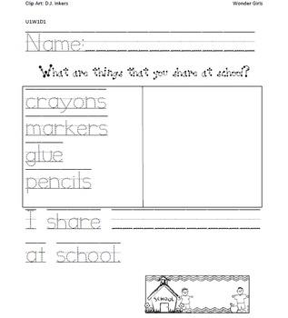Kindergarten Wonders: Unit 1 Week 1- PowerPoint/Activities