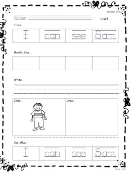 Kindergarten Wonders: Unit 1 Week 3- Lesson Plan/Activities