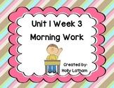 McGraw Hill Wonders Unit 1 Week 3 Morning Work First Grade