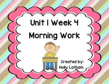 McGraw Hill Wonders Unit 1 Week 4 Morning Work First Grade