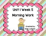 McGraw Hill Wonders Unit 1 Week 5 Morning Work First Grade