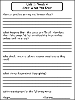 McGraw-Hill Wonders Unit 1 Weeks 1-5 (Third Grade)