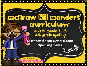 McGraw Hill Wonders Unit 2 4th Grade Spelling Lists