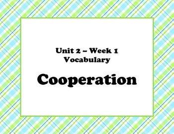 McGraw Hill Wonders Unit 2 Vocabulary Words and Definitions Cards - plaid