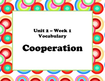 McGraw Hill Wonders Unit 2 Vocabulary Words and Definitions Cards- retro circles