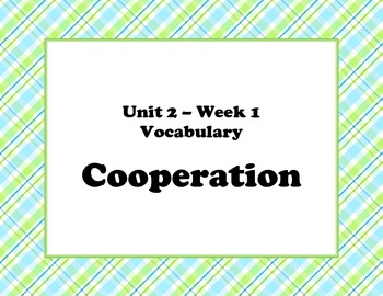 McGraw Hill Wonders Unit 2 Week 1 Vocabulary Words and Definitions Cards - plaid