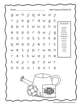 McGraw Hill Wonders Unit 3 High Frequency Word Searches, First Grade