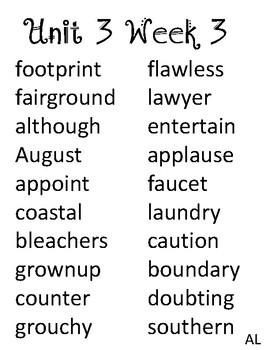 McGraw Hill Wonders Unit 3 Spelling List