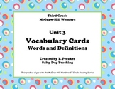 McGraw Hill Wonders Unit 3 Vocabulary Words & Definitions Cards-colorful circles