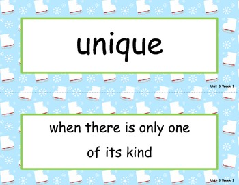 McGraw Hill Wonders Unit 3 Vocabulary Words and Definitions Cards - ice skates
