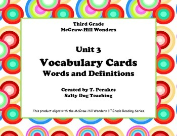 McGraw Hill Wonders Unit 3 Vocabulary Words and Definitions Cards- retro circles