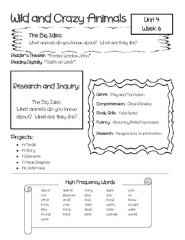 McGraw-Hill Wonders Unit 4 Focus Wall / Parent Info Sheet