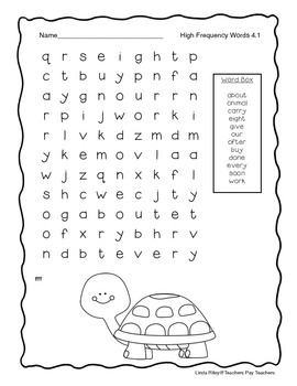 McGraw Hill Wonders Unit 4 High Frequency Word Searches, First Grade