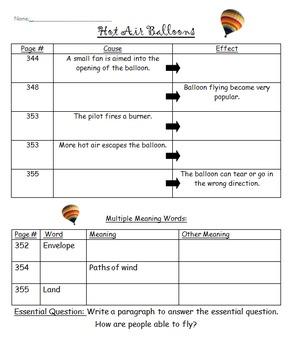 "McGraw-Hill ""Wonders"" Unit 4 Week 4 (Hot Air Balloons) Graphic Organizer Grade 3"