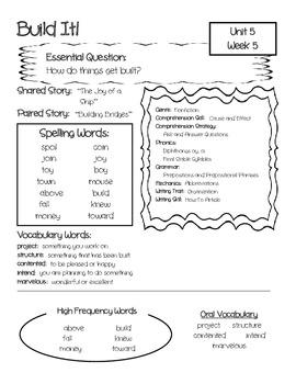 McGraw-Hill Wonders Unit 5 Focus Wall / Parent Info Sheet