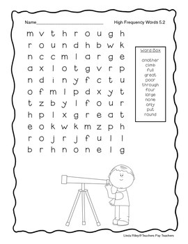 McGraw Hill Wonders Unit 5 High Frequency Word Searches, First Grade