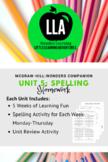 McGraw-Hill: Wonders Unit 5 Spelling Homework