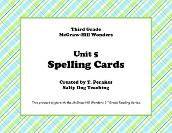McGraw Hill Wonders Unit 5 Spelling - plaid background