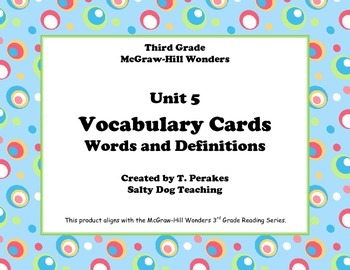 McGraw Hill Wonders Unit 5 Vocabulary Words & Definitions Cards-colorful circles