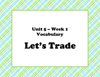 McGraw Hill Wonders Unit 5 Vocabulary Words and Definitions Cards - plaid
