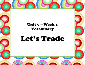 McGraw Hill Wonders Unit 5 Vocabulary Words and Definitions Cards- retro circles