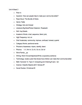 Kindergarten Wonders: Unit 5 Week 1- Lesson Plans/Activities