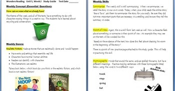 McGraw-Hill Wonders Unit 5, week 2 Power point w/ study guide and sheets Grade 3
