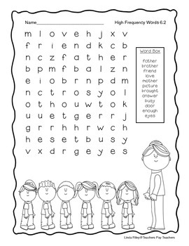 McGraw Hill Wonders Unit 6 High Frequency Word Searches, First Grade