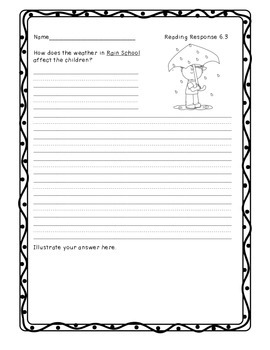 McGraw Hill Wonders Unit 6 Reading Response Sheets, First Grade
