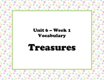 McGraw Hill Wonders Unit 6 Vocabulary Words and Definitions Cards - pastel stars