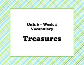 McGraw Hill Wonders Unit 6 Vocabulary Words and Definitions Cards - plaid