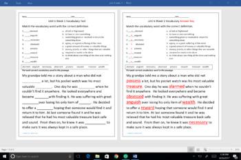 McGraw Hill Wonders Unit 6 Weeks 1-5  Third Grade Vocabulary Tests