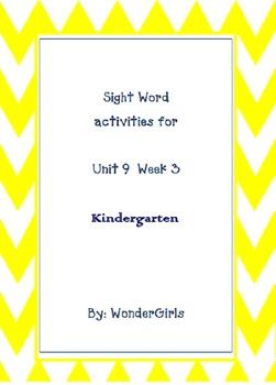 Kindergarten Wonders: Unit 9 Week 3- Lesson Plans/Activities