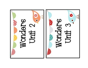 McGraw Hill Wonders Unit Labels for First Grade