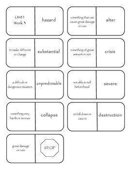 McGraw-Hill Wonders Vocabulary Dominoes Grade 4 Unit 1