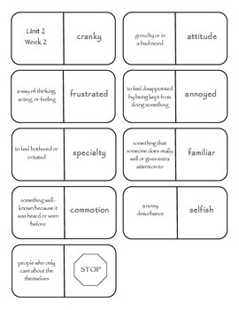 McGraw-Hill Wonders Vocabulary Dominoes Grade 4 Unit 2
