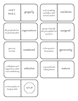 McGraw-Hill Wonders Vocabulary Dominoes Grade 4 Unit 3