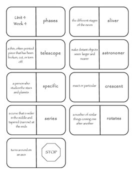 McGraw-Hill Wonders Vocabulary Dominoes Grade 4 Unit 4
