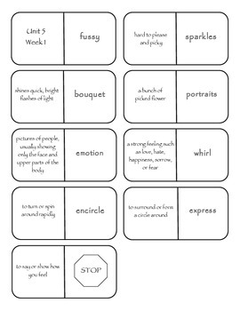 McGraw-Hill Wonders Vocabulary Dominoes Grade 4 Unit 5