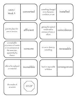 McGraw-Hill Wonders Vocabulary Dominoes Grade 4 Unit 6