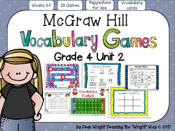 McGraw Hill Wonders Vocabulary Games Grade 4 Unit 2