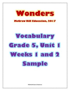 McGraw Hill Wonders Vocabulary Grade 5, Unit 1, Weeks 1 and 2