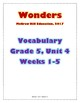 McGraw Hill Wonders Vocabulary, Grade 5, Unit 4