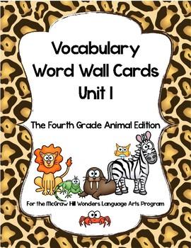 McGraw Hill Wonders Vocabulary Word Wall (4th Grade)