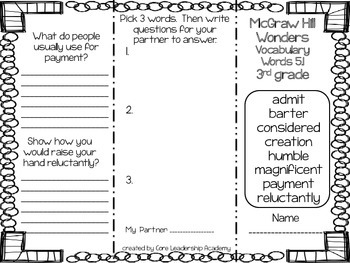 McGraw Hill Wonders Vocabulary Words 5.1 Foldable & Assessment 3rd grade