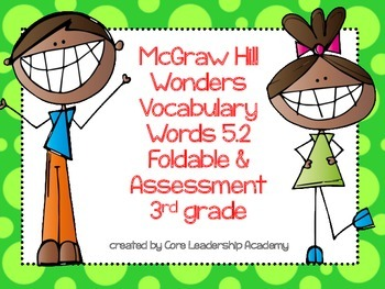 McGraw Hill Wonders Vocabulary Words 5.2 Foldable & Assess
