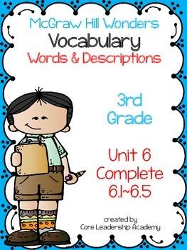 McGraw Hill Wonders Vocabulary Words & Descriptions Unit 6