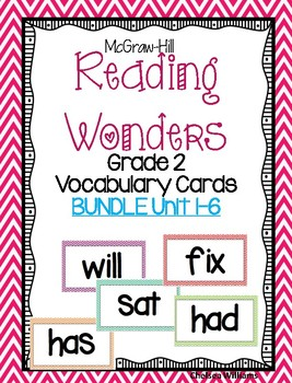 McGraw Hill Wonders Vocabulary Words Unit 1-6 BUNDLE (ENTIRE YEAR) 2nd grade