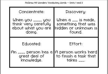 Wonders Vocabulary Third Grade Units 1-3